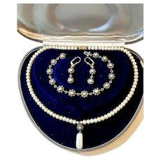 antique Necklace Bracelet Earrings pearl mine diamond gold silver Set