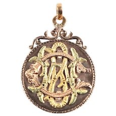 Rare antique large pendant middle age style monogram engraved 8k 14k 20k gold