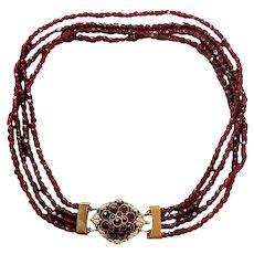 Antique victorian bohemian garnet necklace