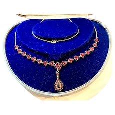 8K Gold Victorian Antique bohemian garnet necklace