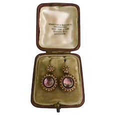 A Charming pair of Georgian earrings in 15ct Gold , with Pink Foiled Backs and Fine Bead work