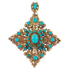 An Exquisite Canetille Turquoise Victorian Pendant /Brooch in 18ct Tested Gold