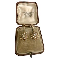 Starry Starry Night…. Victorian 'Star' shaped Pearl, Diamond and 18ct Gold Earrings