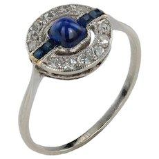 Beautiful Sugarloaf Sapphire Art Deco Engagement Ring
