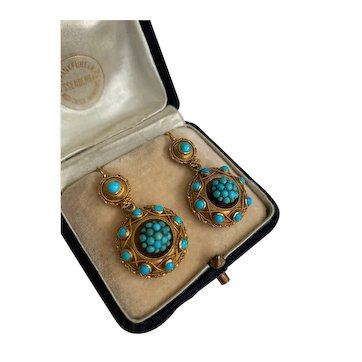 A Beautiful pair of Victorian, Turquoise and 18ct Yellow Gold (tested) Earrings.