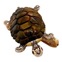 Slowly slowly moves the the tortoise... Victorian, 'Tigers eye' Brooch Ca1880
