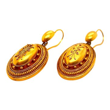 Beautiful Domed and Oval Pair of 18ct (Tested) Victorian Earrings