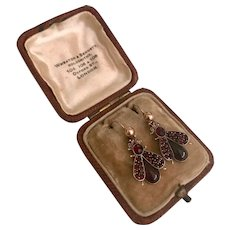 A Charming pair of Victorian Bohemian Garnet 'Fly to me' Earrings
