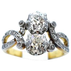 A Stunning 'Toi et Moi' French 'Old Mine Cut ' Diamond Ring Ca1920