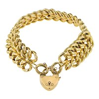 A Beautiful Gold Double Curb Link Victorian Bracelet  in 18ct stamped Butter coloured Gold