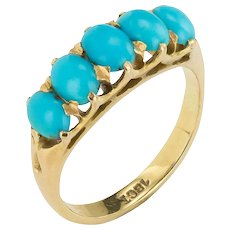 'Forget me Not' - A Beautiful Victorian Turquoise and 18ct gold (tested, stamped) Five stone Ring