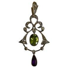 A wonderful Suffragette Diamond, Peridot and Amethyst Pendant