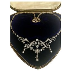 A Beautiful Edwardian Diamond Necklace  Circa 1915 with Box