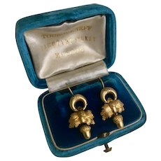 A Fine Pair of Victorian Acorn Earrings in 15ct (tested) Gold