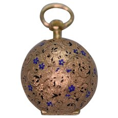 An Exquisite Swiss Enamel Ball Fob Watch in 18ct Gold Ca1860
