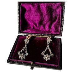 A Beautiful Pair of Edwardian Diamond Earrings in Diamonds, set in Platinum Ca 1910.