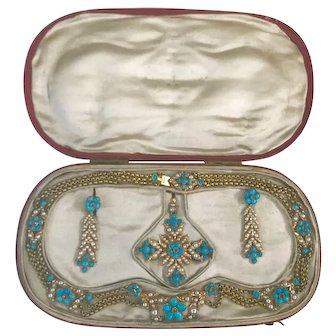 A Rare and Beautiful Turquoise and Pearl Georgian Parure in Original Box Ca1790