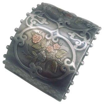Victorian Silver Cuff Bangle with Multi Inlay Work