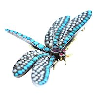 A Stunning Turquoise and Natural Pearl and Ruby Dragonfly Brooch Ca 1880