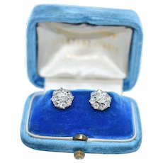 A Beautiful Pair of Victorian 'Old Mine Cut' Diamond Cluster Earrings