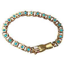 A Charming Antique 18ct Gold Bracelet with Hand Clasp and Turquoise