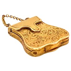 Cute little locket charm handbag in 18ct , Ca 1840