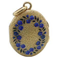 A Charming Victorian 'Forget me Not' 18ct (tested) Gold Locket Pendant