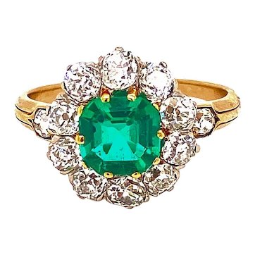 A Gorgeous Columbian Emerald and Diamond Cluster Ring