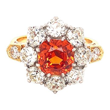 A Gorgeous Spessartine Garnet and 'Old Mine Cut' Diamond Ring from the '20's/'30's.