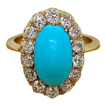 Beautiful Sugar Loaf Natural Turquoise and 'Old Mine cut' Diamond Victorian Ring