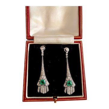 A Stunning Pair of Emerald and Diamond Art deco Earrings in Platinum (tested)