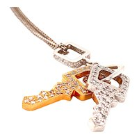 Cute Little 18ct Yellow and White Gold Pendant in form of Two Keys encrusted with Diamonds Ca2000