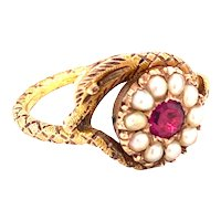 Charming, sweet faced Snake ring with Natural Pearls and Garnet Ca 1820