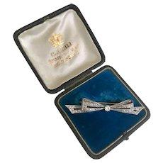 A Lovely Diamond and Onyx Art Deco Bow Brooch