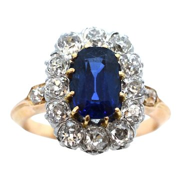 A Classically Timeless Sapphire and Diamond Cluster Engagement Ring Ca1920