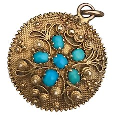 A Charming Georgian Turquoise and Canetille Locket in 18ct Gold , ca 1800