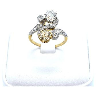 A Stunning Art Deco 'Toi et Moi'  Ring with a Lemon and White Diamond.