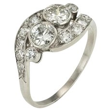 A Beautiful Two stone Diamond Edwardian Engagement Ring in Platinum