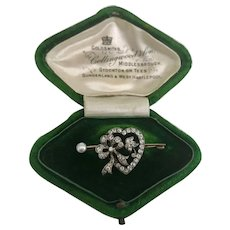 A Charming Victorian Diamond and Pearl Heart Brooch in Box