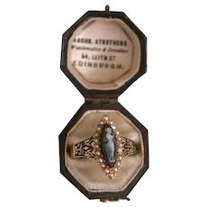 An Exquisite Georgian Hardstone Cameo  and Hair Mourning Ring Ca1820