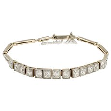 Beautiful Art Deco Cushion Cut Diamond half line bracelet in Platinum and 18ct Gold (Tested) .