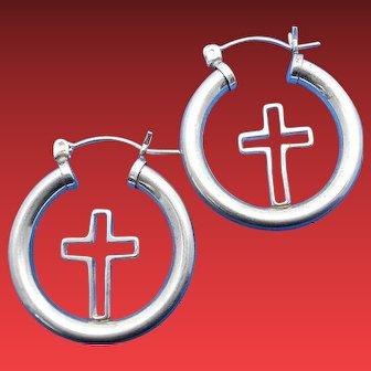 Vintage 1980's JWK (John W. Kessler) Sterling Silver Floating OPEN CROSS Hoop Earrings