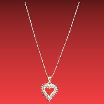 Vintage OC TANNER Genuine .10ctw Diamond Accent HEART Gold Vermeil Sterling Silver Pendant Necklace