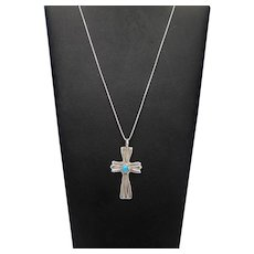 Vintage Handcrafted Navajo Sleeping Beauty Turquoise Sterling Silver CROSS Pendant Necklace