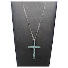 Vintage 1940's Navajo Handcrafted Flush Inlay Turquoise Sterling Silver CROSS Pendant Necklace