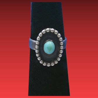 Vintage Fred Harvey Era Navajo Natural Robin's Egg Turquoise Petite Shadowbox Sterling Silver Ring – Size 4