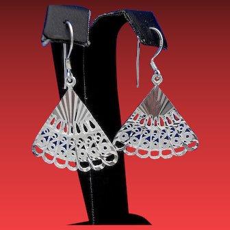 Vintage Sterling Silver Diamond Cut Filigree FAN Dangle Earrings