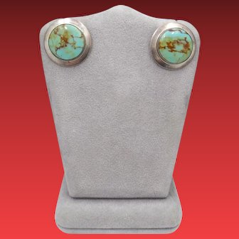 Vintage Unsigned Navajo Natural Pilot Mountain Turquoise Sterling Silver Button Post Earrings