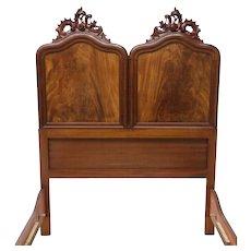 Italian Victorian Carved Mahogany Double Bed 19th c ( 1800s )