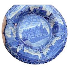 Circa1920 Blue Transfer Ware 10 inch souvinir plate of Saint Louis mo,